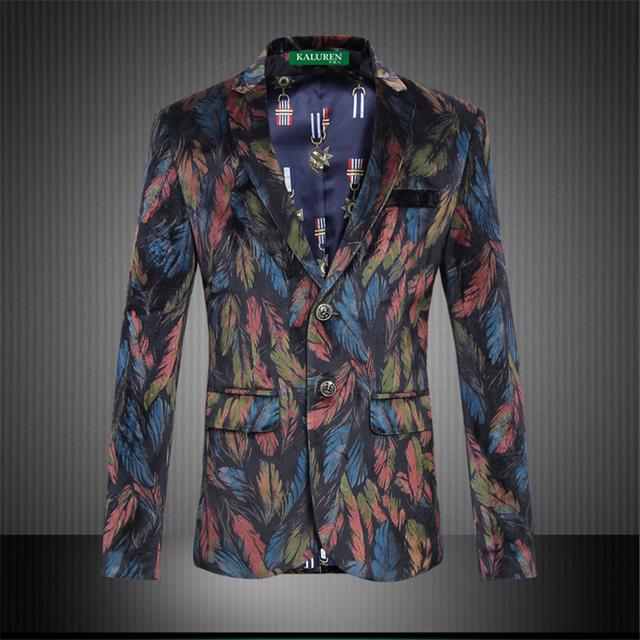 Teste padrão da pena personalizado impressão blazer de veludo ouro high-end 2016 Nova chegada boutique de moda plus size homens blazer M-6XL