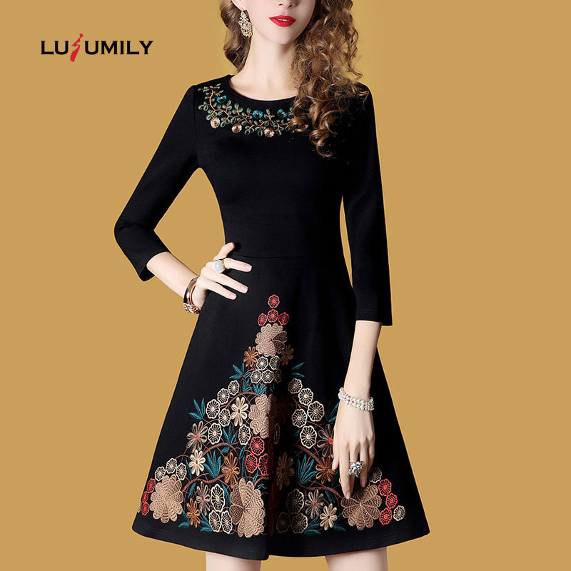 Lusumily Autumn Dress Women Embroidery Black Vintage Casual Elegant Party Dress Short O-neck Slim Dress Winter Lady Vestidos