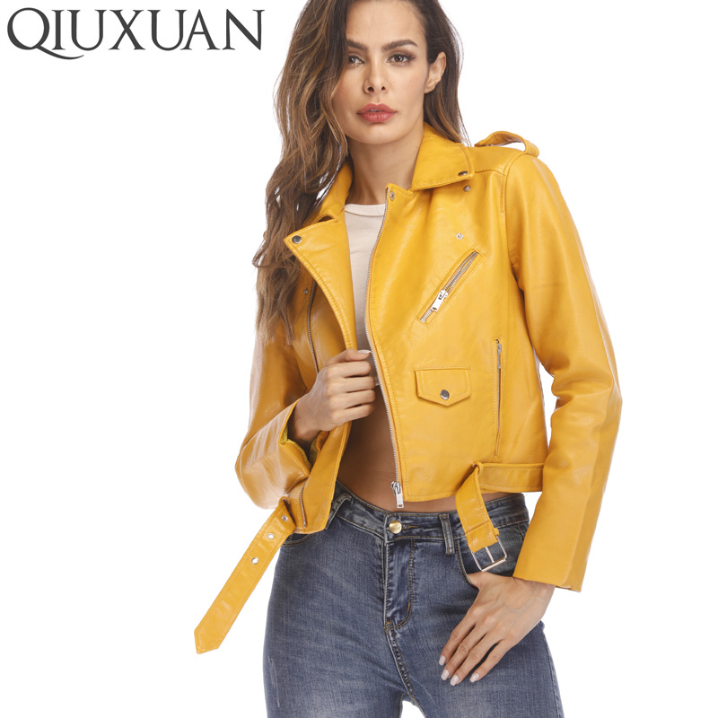 Einfach Qiuxuan Neue Herbst Straße Frauen Outwear Spring Fashion Langarm Kurzarm Mantel Zipper Schärpen Taschen Motorrad Jacke QualitäT Zuerst Haus & Garten