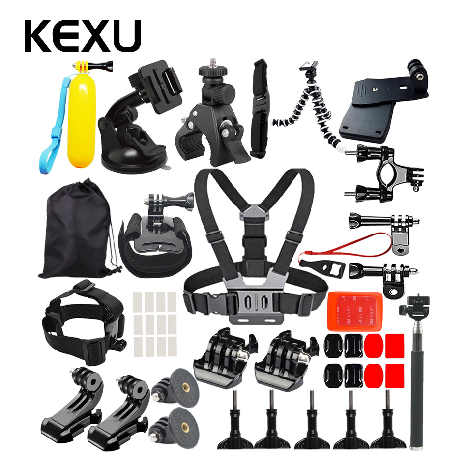 KEXU pour Gopro accessoires Set pour Gopro Hero 6 5 4 Kit de montage pour SJCAM SJ4000 Xiaomi yi Eken H9