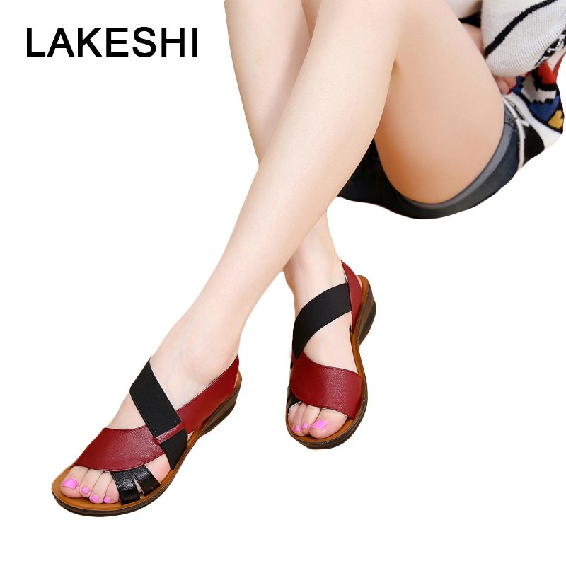 LAKESHI Summer Women Sandals Leather Slip-On Women Shoes Fashion Soft Bottom Mother Sandals Wedge Sandals Peep Toe Female Shoes drkanol women sandals 2018 genuine leather flat gladiator sandals for women summer casual shoes peep toe slip on vintage sandals