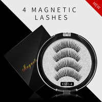 New 4 piece / double 3D magnetic eyelash extension with 4 magnets natural handmade false eyelash eye makeup