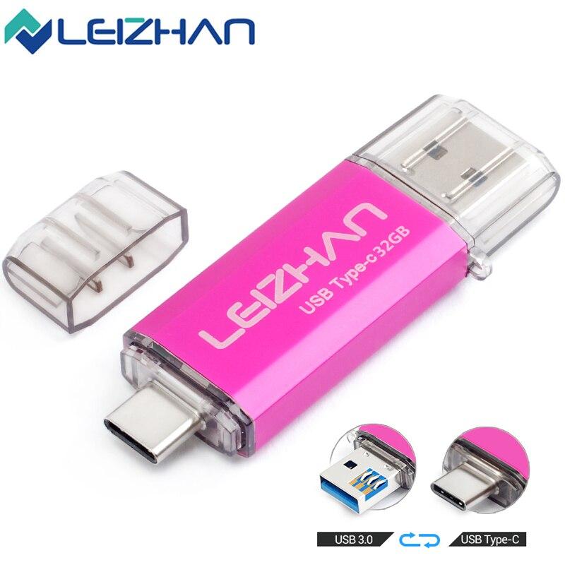 LEIZHAN Type-C USB Flash Drive 256GB 128GB 64GB 32GB 16GB USB C Photo Stick For HTC 10,Huawei P20,Samsung Galaxy S9, Note 9, S8