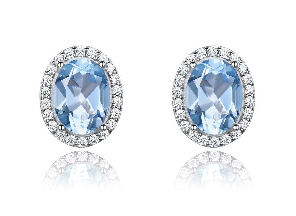 UMCHO Sky blue topaz 925 sterling silver jewelry set for women S010B-1 PC (3)