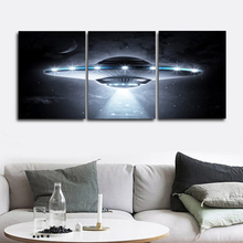 Laeacco Canvas Calligraphy Painting Abstract 3 Panel UFO Science Fiction Poster Print Wall Art Living Room Decor Home Decoration