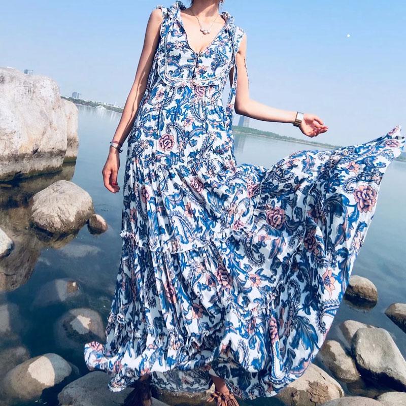 Style bohémien Chic Hippie plage robe frill col en V avec cravate femmes robe Vestido