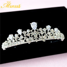 Women Wedding Cubic Zirconia Tiaras and Crowns Bridal Zircon Hair Decorations Jewelry Crystal Headbands Tiara Noiva CR025