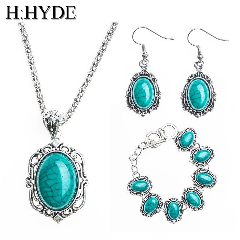 H:HYDE Jewelry Set 1 Set Vintage Green Fresh Pendant Necklace Earrings Bracelet For Woman parure bijoux femme