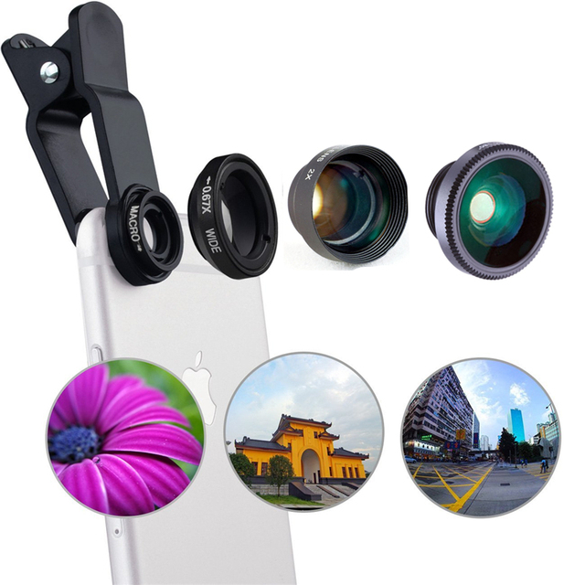 4 in 1 camera lens kit 2X telephoto lens +180 Fisheye Fish eye + Macro + 0.67X Wide angle Lens for iphone 6 Samsung HTC CL-85-2X
