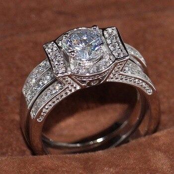 Cruz clásica joyería de moda 14KT oro blanco llenado pavimentar corte redondo 5A Zirconia CZ mujeres Boda nupcial pareja anillo Set regalo