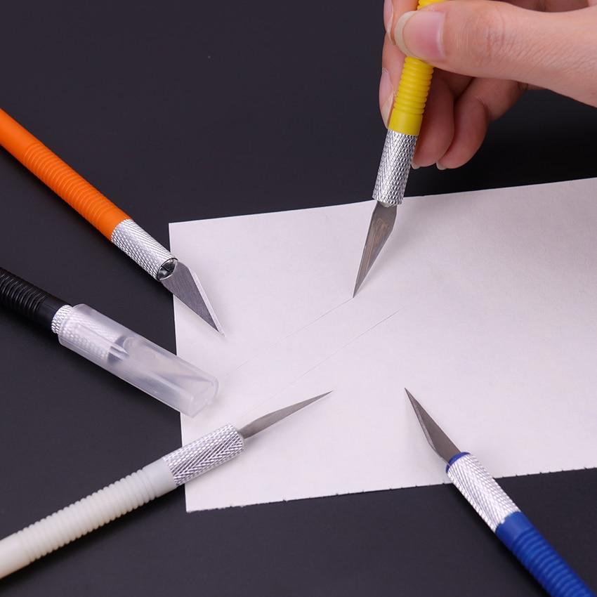 1Set Metal Blade Knife Wood Paper Cutter Fruit Food Craft Pen Engraving Cutting Art Supplies DIY Stationery Utility Knife