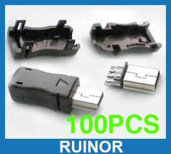 ФОТО  Plastic 5 Pin Mini USB Plug Male Connector DIY