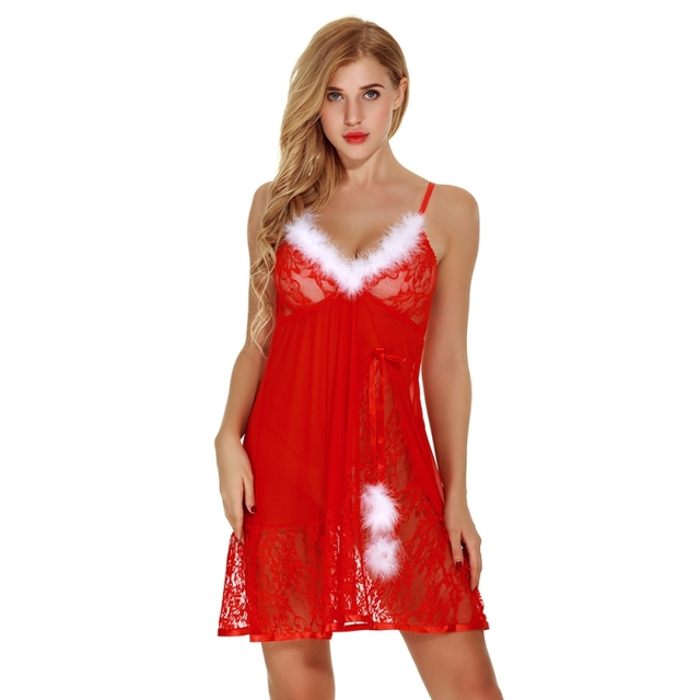 50407981106 Sling V-neck Sexy Nightwear Women Lingerie Translucent Lace Mini Nightdress  Christmas Party Sleepwear Nighty Dress z1