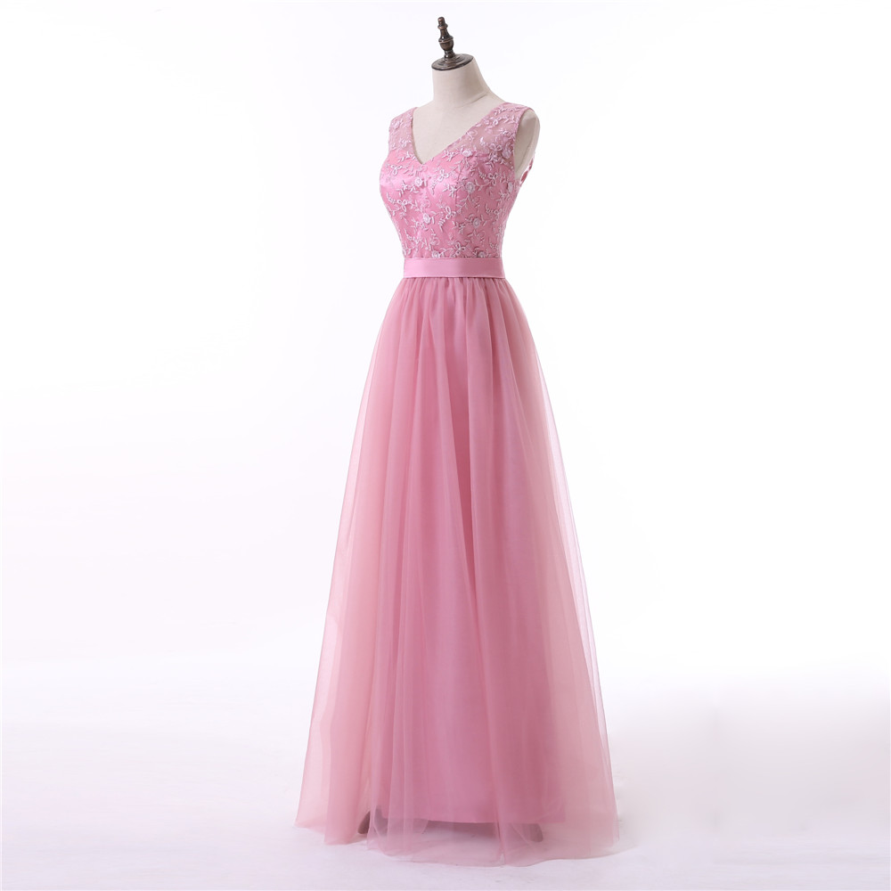 Pink Evening Dresses 2018 A-line V-neck Cap Sleeves Tulle Embroidery Women Long Evening Gown Prom Dresses Robe De Soiree 4