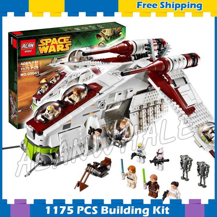 1175pcs New Space Wars Republic Gunship 05041 Model Building Blocks Toys Bricks Kids Kits Gifts Sets Games Compatible With Lego kazi 608pcs pirates armada flagship building blocks brinquedos caribbean warship sets the black pearl compatible with bricks