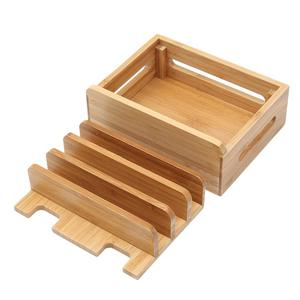 Image 5 - Multi Device Cords Organizer Stand Charging Station Bamboo Multifunction Mobile Phone Holder For iPhone For Smart Phone/Tablet