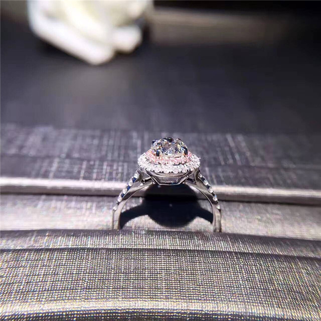 CC S925 Silver Wedding Rings For Women Charms Queen Princess Ring Round Pink Stone Bridal Engagement Jewelry Drop Shipping CC593 3