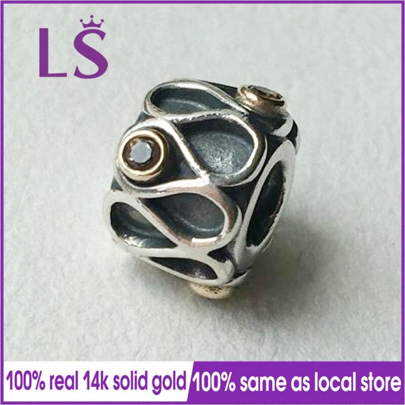 LS 100% Infinity Two Tone Silver 14.k G.old Smokey Quartz Charm Fit Bracelets Pulseira Pingente 100% Original Fine Jewelry N two tone loose fit jumper
