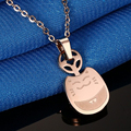 Rose gold plated Lucky lovely clavicle chain necklace Chinchilla pendant titanium steel women jewelry necklaces & pendants