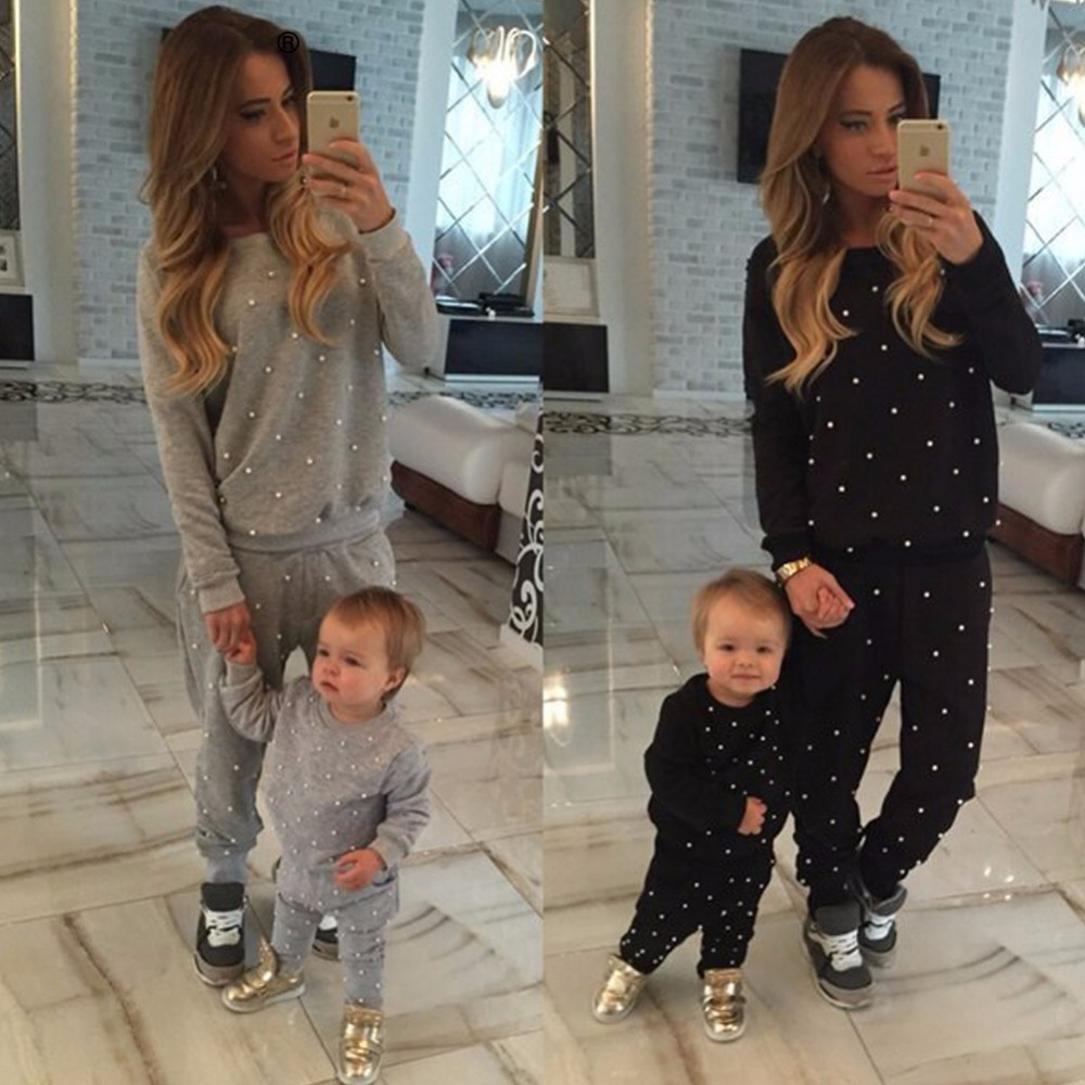 Fashion Autumn Winter Women2pieces Set Pearl Beading Sweatshirt And Pant Long Sleeve Pullovers Womens Tracksuits Black Grey