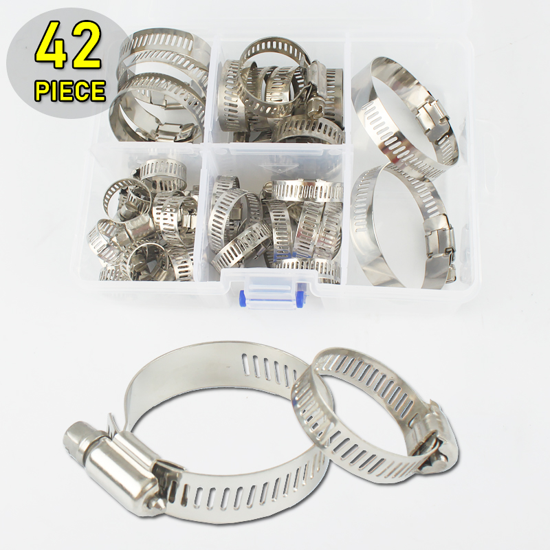 42pcs Adjustable 10-57mm Stainless Steel Worm Gear Hose Clamps Assortment Kit Stored in Plastic Box new 34pcs carbon steel worm gear adjustable hose clamps assortment set 16mm 32mm