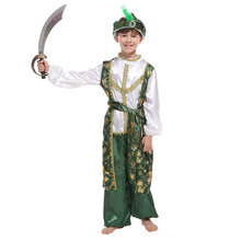 Kids Child Green Indian Arab Arabian Aladdin Prince Warrior Costumes for Boys Halloween Purim Carnival Masquerade Party Cosplay