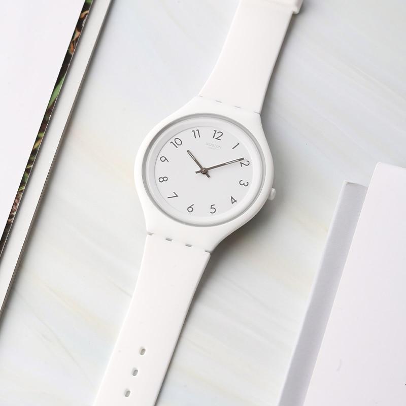 Swatch Watch SKIN Series Simple White Quartz Watch SVUW101 swatch swatch watch jelly timing series multi function chronograph quartz watch susb412