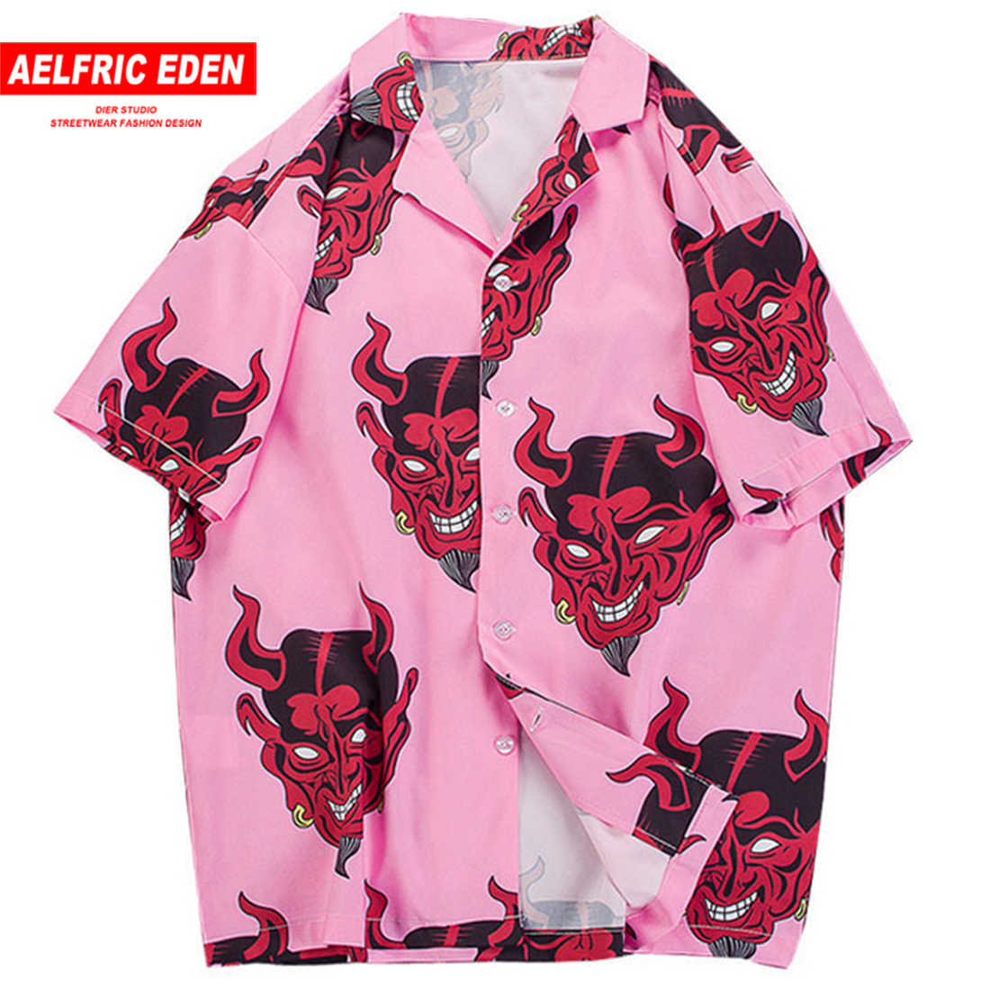 Aelfric Eden Devil Print Hawaiian Shirts 2019 Men Beach Aloha Party Casual Holiday Short Sleeve Shirt Fashion Hip Hop Streetwear