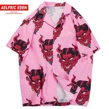 Aelfric Eden Devil Hawaiian Shirt Men 2020 3D Print Summer Beach Short Sleeve Tops Loose Harajuku Shirt Hip Hop Streetwear