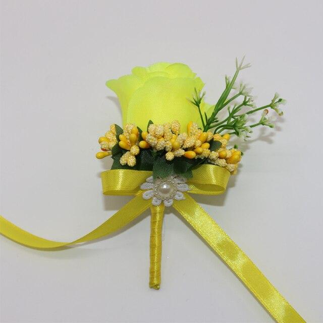 10Pcs Man Groom Boutonniere Yellow Silk Satin Rose Different stamens ...