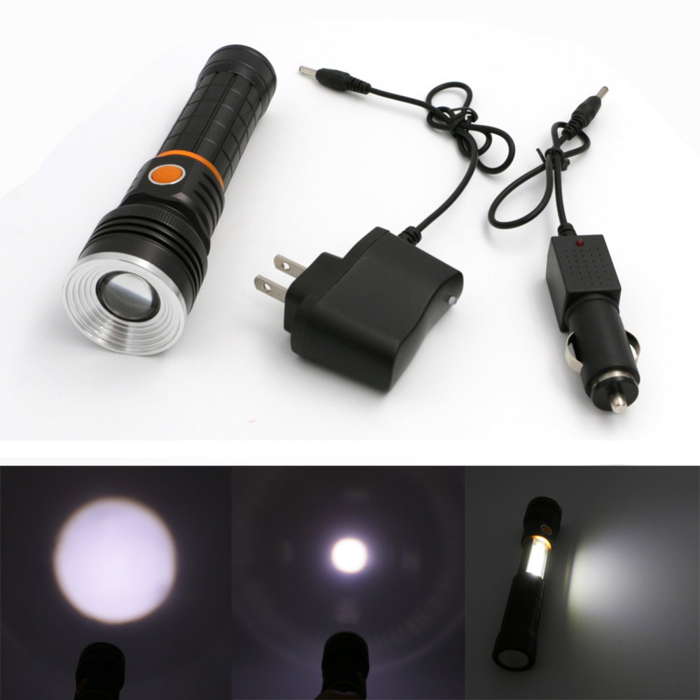 купить 2 In 1 LED Flashlight And Camping Light Portable Rechargeable XPE LED Torch Lamp For Camping+AC/Car Charger By 18650 Battery недорого