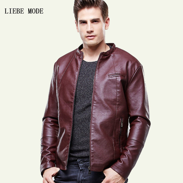 0878a50e47863 Men Autumn Winter Stand Collar Pu Leather Fleece Lined Jacket Mens Warm  Velvet Faux Leather Jackets and Coats Black Brown Red