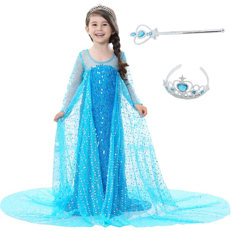 Sequins Girls Elsa Dress with Crown Wand for Kids Children Sow Queen Anime Dresses Princess Elsa Costume Cosplay Party Dresses