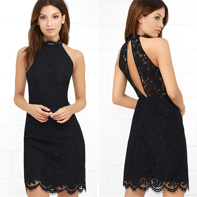 Popular Black Lace Cocktail Dress 2017 Halter Straight Sexy Dress For Prom Sleeveless Knee Length Night Dresses