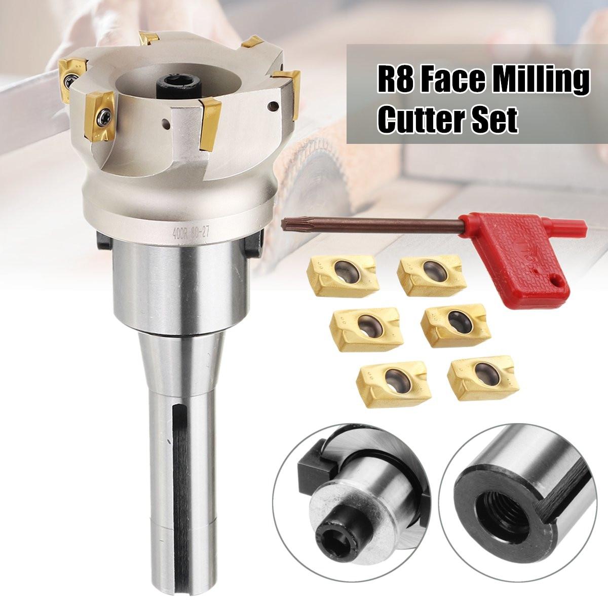 400R 80mm 400R-80-27-6T Viso End Mill Cutter R8 FMB27 Arbor & 6x APMT1604 Inserto