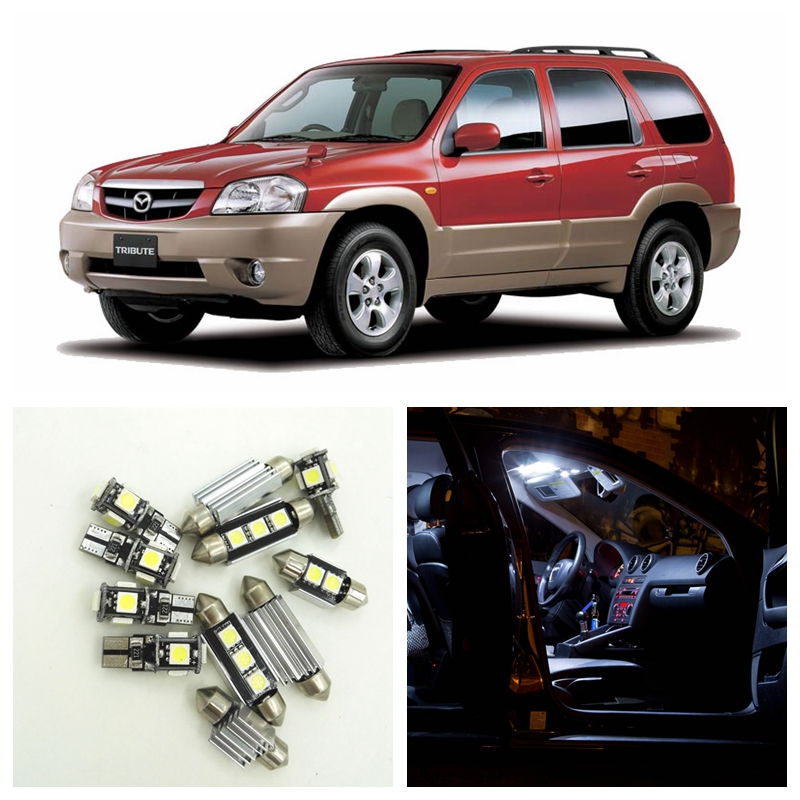 12pcs White LED Light Bulbs Interior Package Kit For 2001 2002 2003 2004 2005 2006 Mazda Tribute Map Dome License Plate Lamp 1pair canbus free led car license plate light number plate lamp for opel vectra c estate 2002 2003 2004 2005 2006 2007 2008