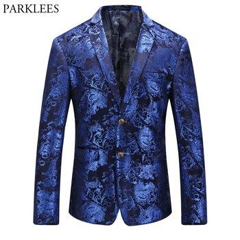Hommes bleu Floral Blazer veste 2018 tout nouveau simple boutonnage deux boutons affaires mariage costume de bal Blazer scène Costumes hommes