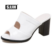 SJJH 2018 Woman Slip-on Roman Sandals with High Chunky Heels Peep Toe Cut-outs Casual Fashion Elegant Shoes Large Size A609