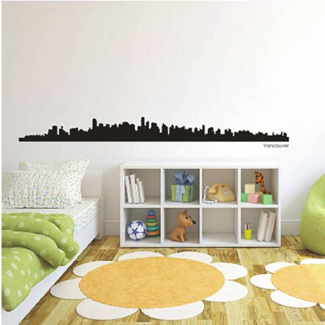 Vancouver city decal landmark skyline wall stickers sketch decals poster parede home decor sticker
