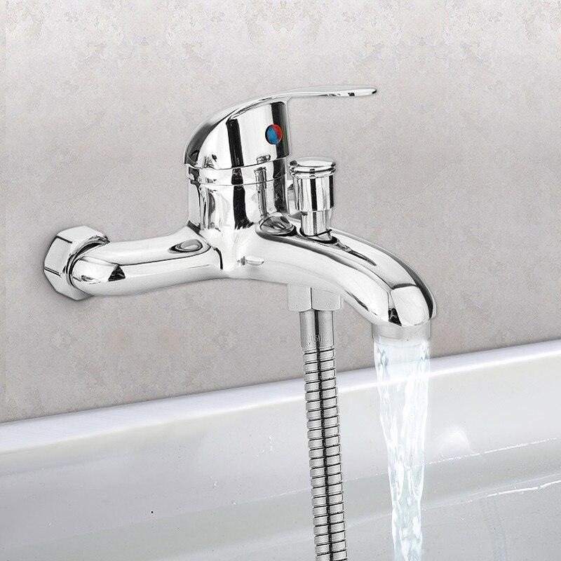Zinc alloy Basin Faucets Chrome Wall Mounted Hot Cold Water Dual Spout Mixer Tap Faucet Bath Shower Basin
