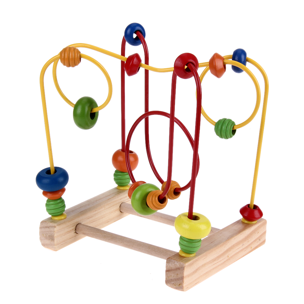 Baby Wooden Toys Math Counting Circles Bead Abacus Wire Maze Roller Coaster Around Beads Wire Maze Kids Educational Toys