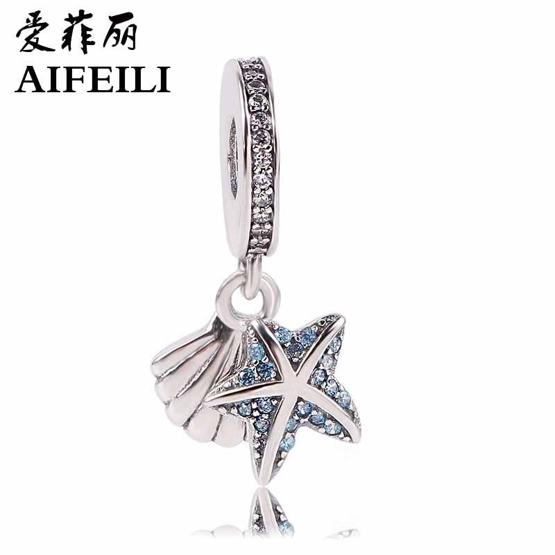 AIFEILI D'été Date 925 Sterling Argent Perles Tropical Starfish & Sea Shell Pendentif Charms Fit Original Pandora Bracelets