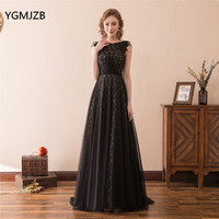 Elegant Long Evening Dress Lace 2018 A Line Appliques Floor Length African Black Women Formal Party Evening Gowns Prom Dresses