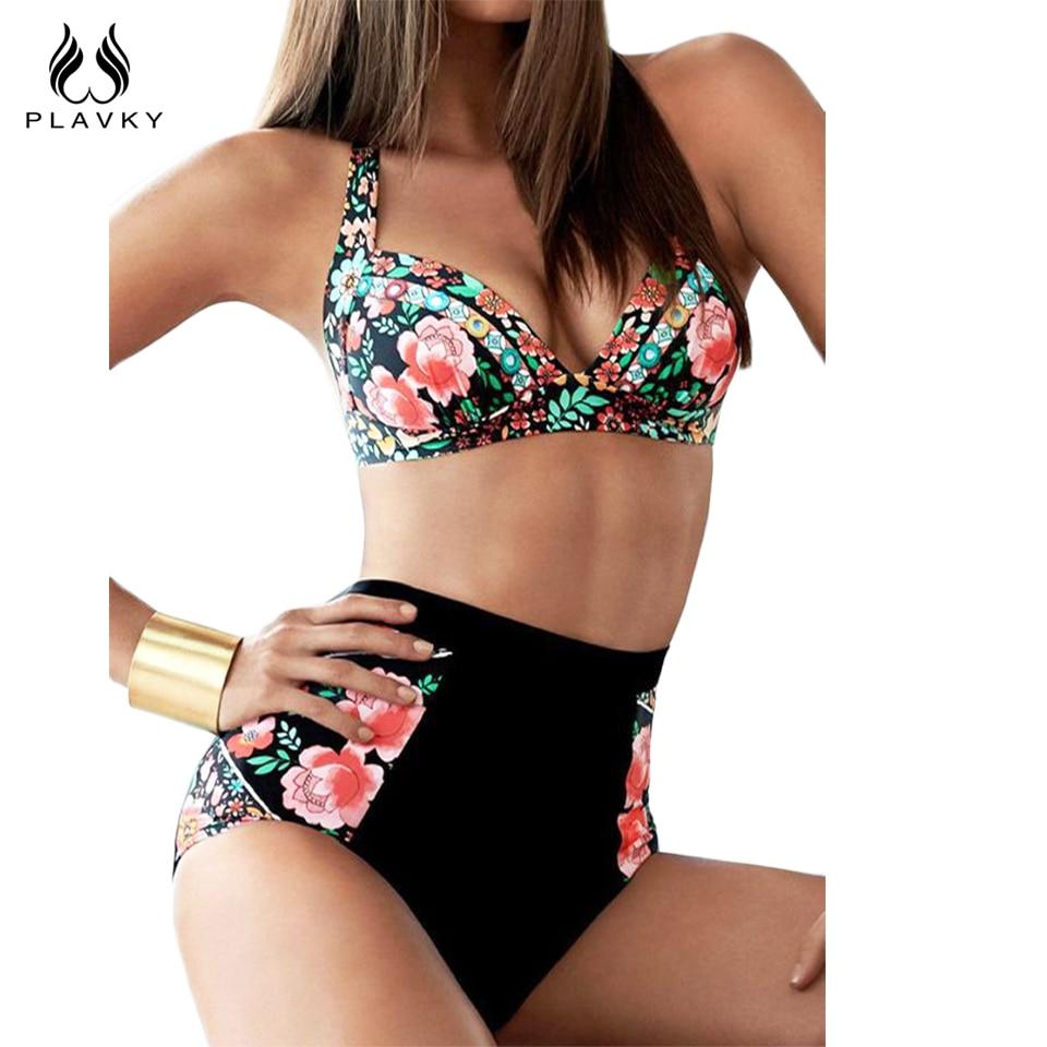 PLAVKY Retro Sexy Halter Floral Biquini Swim Bathing Suit Pin Swimsuit Plus Size Swimwear Women High Waisted Push Up Bikini XXXL