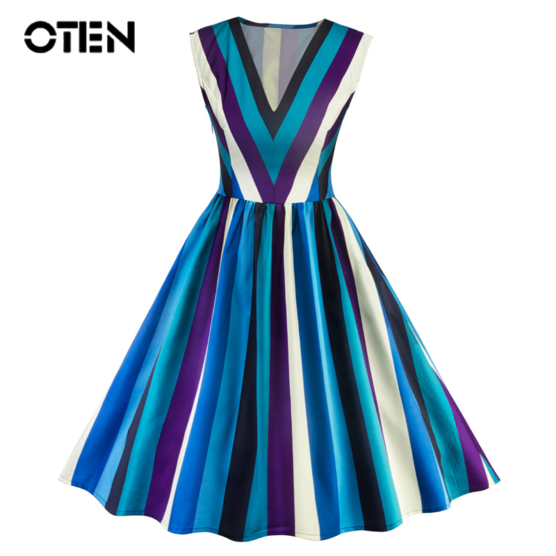 OTEN summer clothes for women 2018 Vintage Elegant Striped V-neck sleeveless Rockabilly pin up Skater knee-length Party Dress