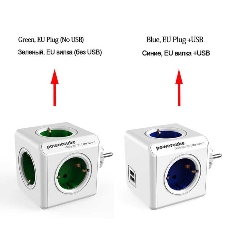 Allocacoc inteligentnego domu w użyciu plug powercube elektryczny wyjście USB ue wtyczka zasilania pasek multi rozszerzenie adapter gniazda adapter podróżny