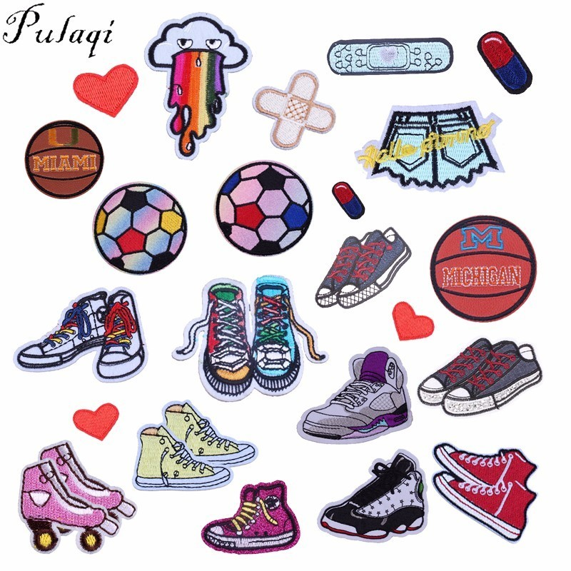 Pulaqi Play Sports Ball Patches Embroidery Iron On Patch For Kids Clothes Fabric Sticker Shpot Shoes Applique Decoration F