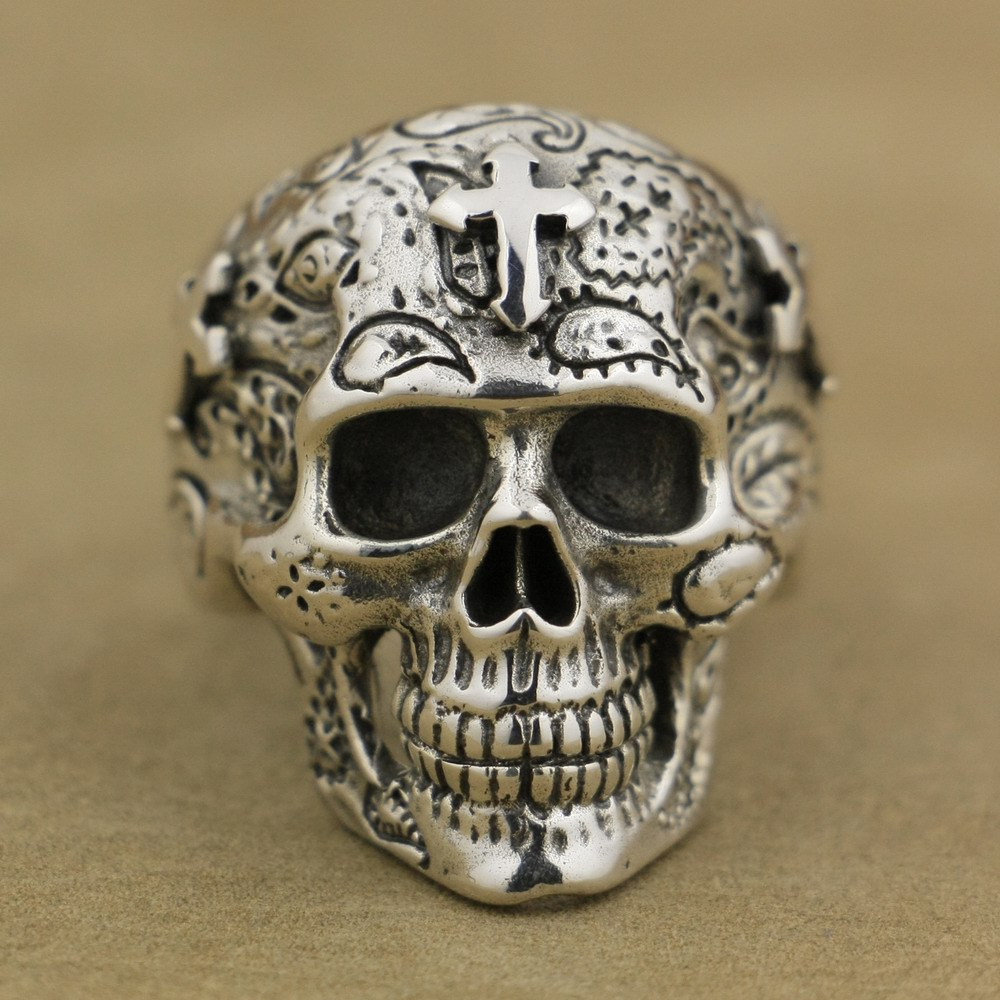 925 Sterling Silver High Detail Skull Cross Ring Mens Biker Ring TA55A US 7~15
