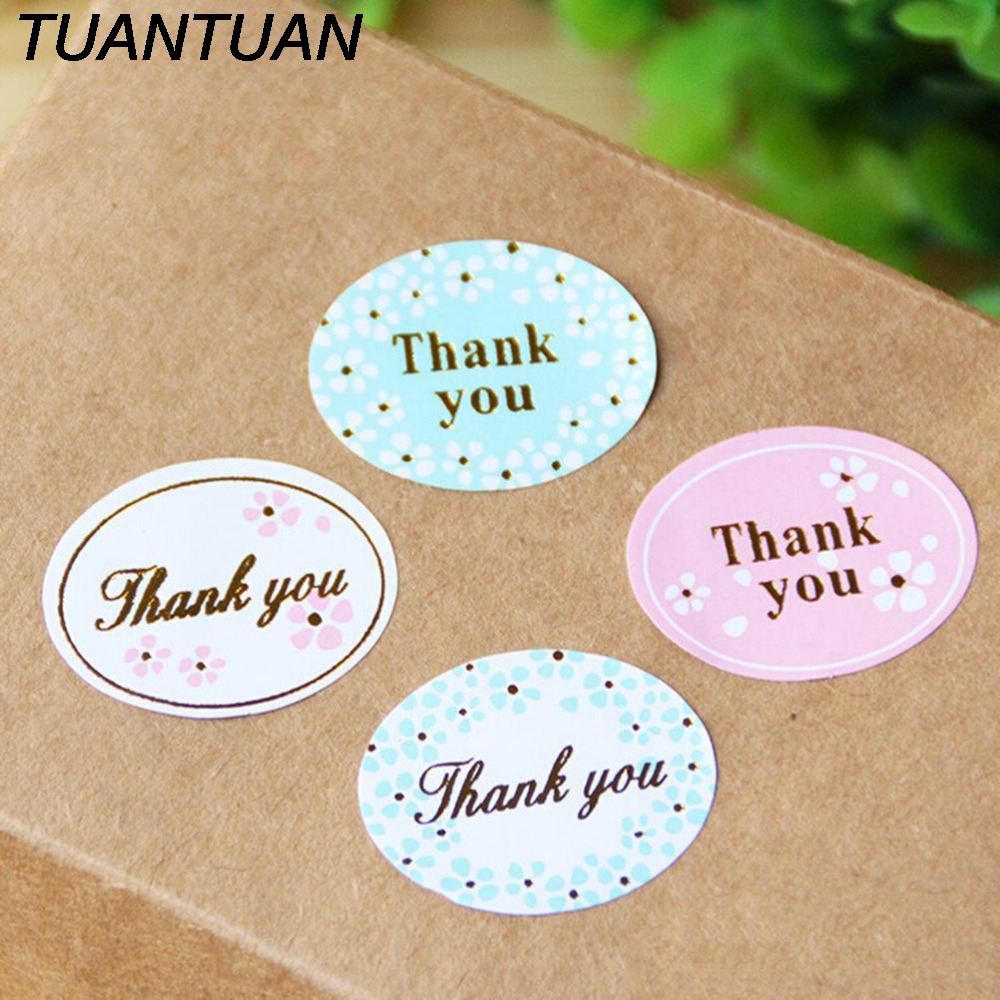 TUANTUAN 24PCS/sheet THANK YOU Design Sticker Labels Diary Scrapbooking Stickers Food Seals Gift Stickers For Wedding Seals