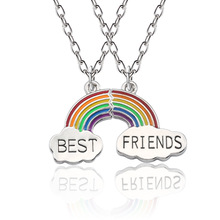 Charm Best Friends Necklace Rainbow Geometric Pendant Necklaces For Women Girls Friendship Silver Chain Jewelry
